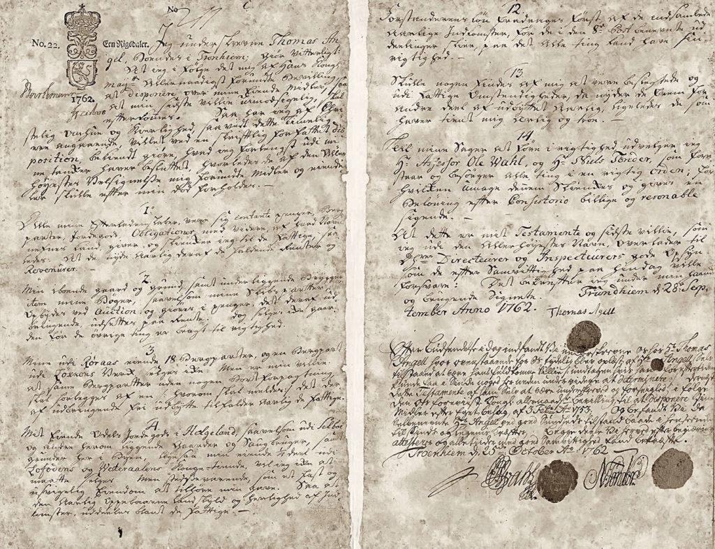Thomas Angells testament